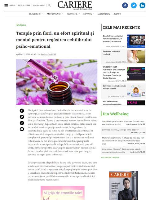 Revista CARIERE: Terapie prin flori, un efort spiritual și mental pentru regăsirea echilibrului psiho-emoțional